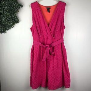Lane Bryant I pink floral eyelet waist tie dress